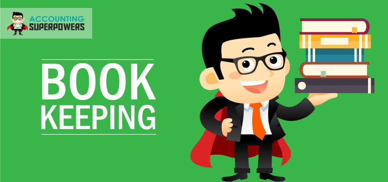 An animated person standing with books in his hand with the words Bookkeeping written next to him.