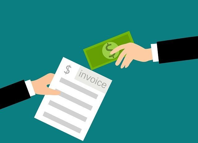 Illustration of someone passing an invoice to someone giving cash in return